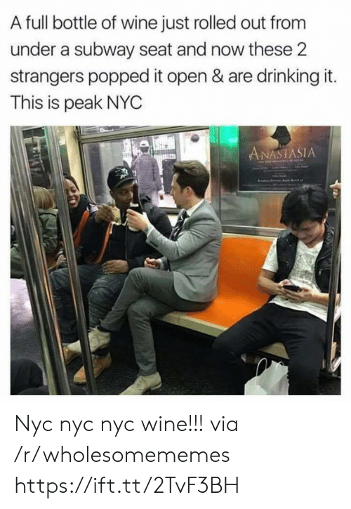 Anastasia: A full bottle of wine just rolled out from  under a subway seat and now these 2  strangers popped it open & are drinking it.  This is peak NYC  ANASTASIA Nyc nyc nyc wine!!! via /r/wholesomememes https://ift.tt/2TvF3BH
