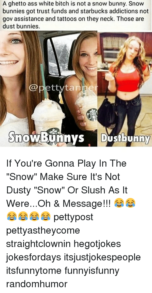 """White Bitch: A ghetto ass white bitch is not a snow bunny. Snow  bunnies got trust funds and starbucks addictions not  gov assistance and tattoos on they neck. Those are  dust bunnies.  @petty ta  Snow Bunnys  Dustbunny If You're Gonna Play In The """"Snow"""" Make Sure It's Not Dusty """"Snow"""" Or Slush As It Were...Oh & Message!!! 😂😂😂😂😂😂 pettypost pettyastheycome straightclownin hegotjokes jokesfordays itsjustjokespeople itsfunnytome funnyisfunny randomhumor"""