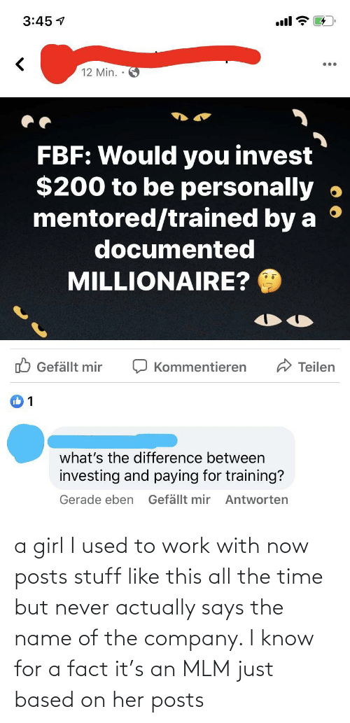 a girl: a girl I used to work with now posts stuff like this all the time but never actually says the name of the company. I know for a fact it's an MLM just based on her posts