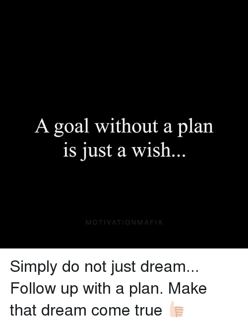 Memes, True, and Goal: A goal without a plan  is just a wish  MOTIVATIONMAFIA Simply do not just dream... Follow up with a plan. Make that dream come true 👍🏻