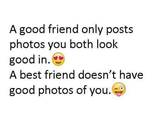 Best Friend, Friends, and Memes: A good friend only posts  photos you both look  good in.  A best friend doesn't have  good photos of you