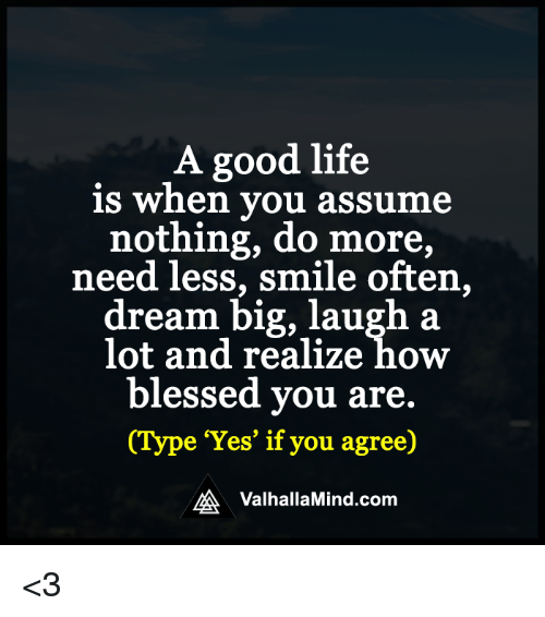 Good: A good life  is when you assume  nothing, do more,  need less, smile often,  dream big, laugh a  lot and realize how  blessed you are.  e 'Yes' if you agree)  MA Valhalla Mind.com <3