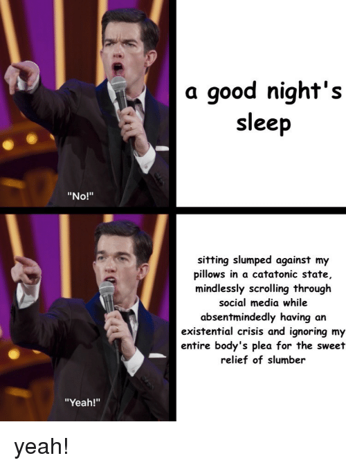 "slumped: a good night's  sleep  ""No!""  sitting slumped against my  pillows in a catatonic state,  mindlessly scrolling through  social media while  absentmindedly having an  existential crisis and ignoring my  entire body's plea for the sweet  relief of slumber  ""Yeah!"" yeah!"