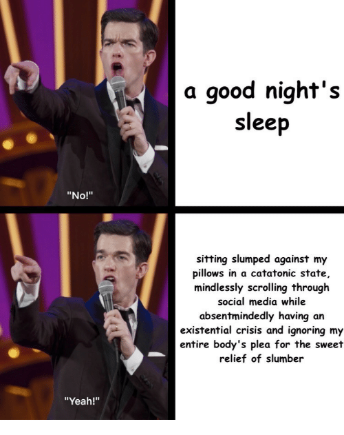"slumped: a good night's  sleep  ""No!""  sitting slumped against my  pillows in a catatonic state,  mindlessly scrolling through  social media while  absentmindedly having an  existential crisis and ignoring my  entire body's plea for the sweet  relief of slumber  ""Yeah!"""