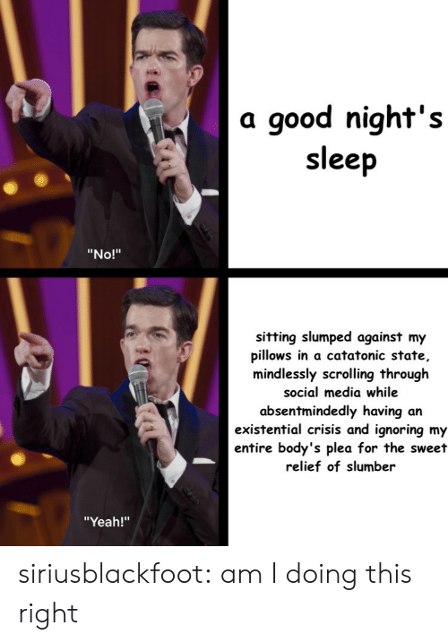 "slumped: a good night's  sleep  ""No!""  sitting slumped against my  pillows in a catatonic state,  mindlessly scrolling through  social media while  absentmindedly having an  existential crisis and ignoring my  entire body's plea for the sweet  relief of slumber  ""Yeah!"" siriusblackfoot:  am I doing this right"