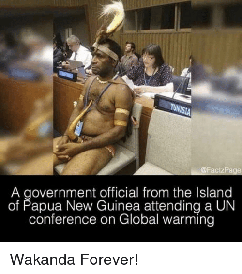 guinea: A government official from the Island  of Papua New Guinea attending a UN  conference on Global warming Wakanda Forever!