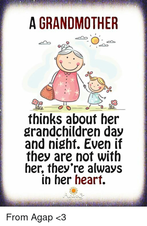 Memes, Heart, and 🤖: A GRANDMOTHER  0e  hinks about her  grandchildren day  and night. Even il  they are not with  her, they're alway:s  in her heart. From AgapΩ <3