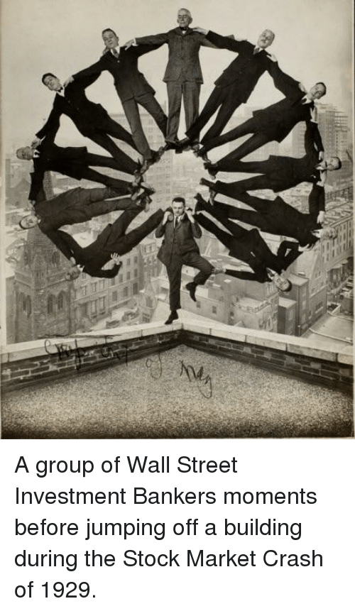 wall street: A group of Wall Street Investment Bankers moments before jumping off a building during the Stock Market Crash of 1929.