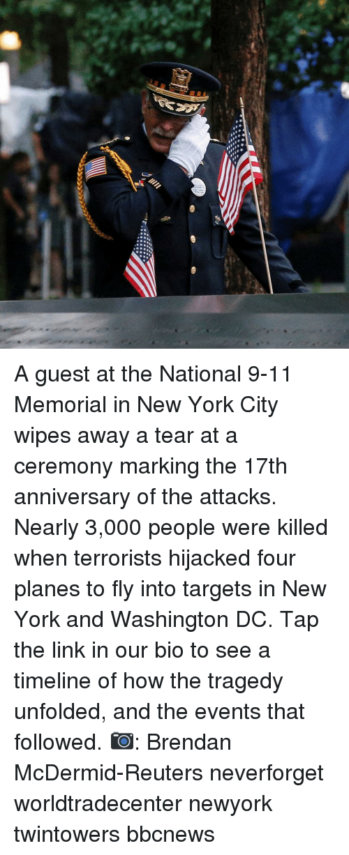 Reuters: A guest at the National 9-11 Memorial in New York City wipes away a tear at a ceremony marking the 17th anniversary of the attacks. Nearly 3,000 people were killed when terrorists hijacked four planes to fly into targets in New York and Washington DC. Tap the link in our bio to see a timeline of how the tragedy unfolded, and the events that followed. 📷: Brendan McDermid-Reuters neverforget worldtradecenter newyork twintowers bbcnews