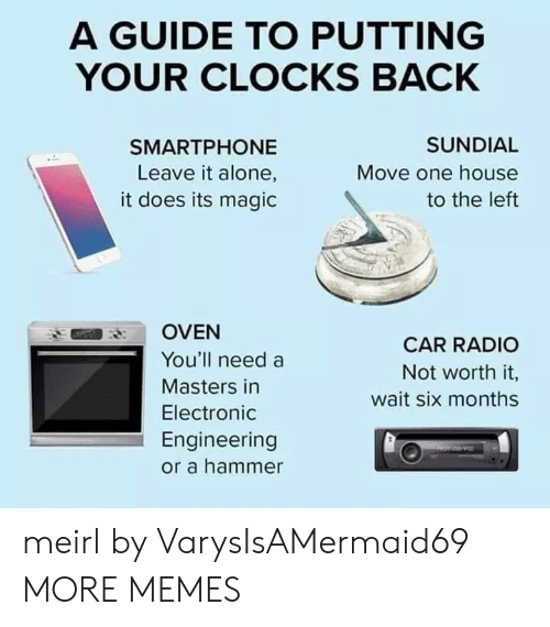 oven: A GUIDE TO PUTTING  YOUR CLOCKS BACK  SUNDIAL  SMARTPHONE  Leave it alone,  Move one house  it does its magic  to the left  OVEN  CAR RADIO  You'll need a  Not worth it,  Masters in  wait six months  Electronic  Engineering  or a hammer meirl by VarysIsAMermaid69 MORE MEMES