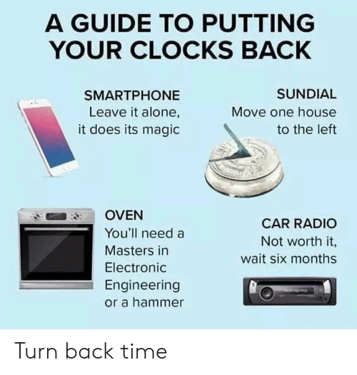 Masters: A GUIDE TO PUTTING  YOUR CLOCKS BACK  SUNDIAL  SMARTPHONE  Move one house  Leave it alone,  it does its magic  to the left  OVEN  CAR RADIO  You'll need a  Not worth it,  Masters in  wait six month:s  Electronic  Engineering  or a hammer Turn back time