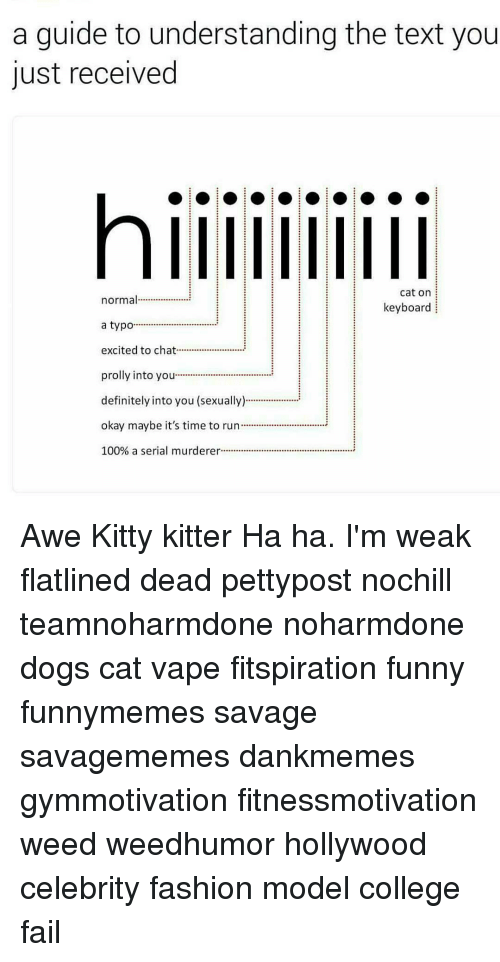 awe: a guide to understanding the text you  just received  Cat on  normal  keyboard  a typo  excited to chat  prolly into you  definitely into you (sexually)  okay maybe it's time to run...............  100% a serial murderer Awe Kitty kitter Ha ha. I'm weak flatlined dead pettypost nochill teamnoharmdone noharmdone dogs cat vape fitspiration funny funnymemes savage savagememes dankmemes gymmotivation fitnessmotivation weed weedhumor hollywood celebrity fashion model college fail