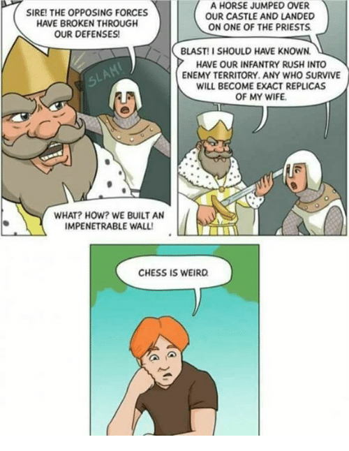 Memes, Weird, and Chess: A HORSE JUMPED OVER  SIRE! THE OPPOSING FORCES  OUR CASTLE AND LANDED  HAVE BROKEN THROUGH  ON ONE OF THE PRIESTS  OUR DEFENSES!  BLAST! I SHOULD HAVE KNOWN.  HAVE OUR INFANTRY RUSH INTO  ENEMY TERRITORY. ANY WHO SURVIVE  WILL BECOME EXACT REPLICAS  OF MY WIFE.  WHAT? HOW? WE BUILT AN  IMPENETRABLE WALL!  CHESS IS WEIRD