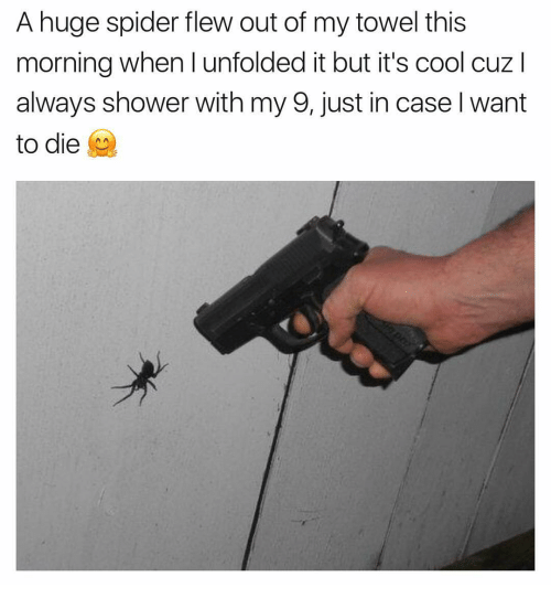 huge spiders: A huge spider flew out of my towel this  morning when I unfolded it but it's cool cuz  always shower with my 9, just in case Iwant  to die