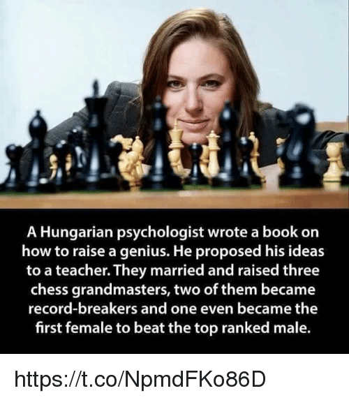 memes: A Hungarian psychologist wrote a book on  how to raise a genius. He proposed his ideas  to a teacher. They married and raised three  chess grandmasters, two of them became  record-breakers and one even became the  first female to beat the top ranked male. https://t.co/NpmdFKo86D