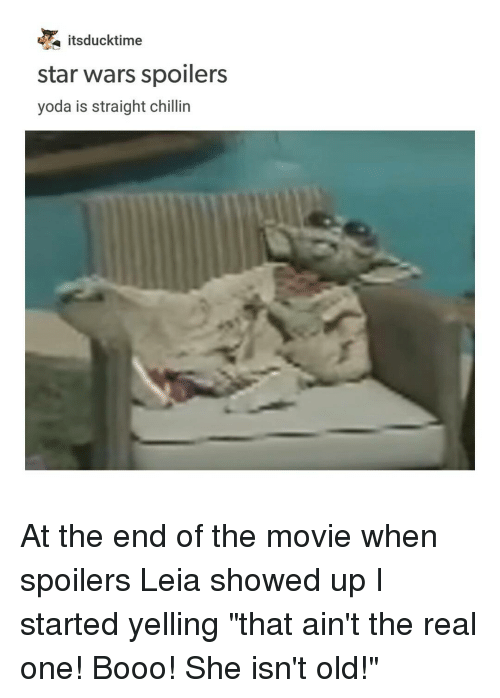 """Straight Chillin: a itsducktime  star wars spoilers  yoda is straight chillin At the end of the movie when spoilers Leia showed up I started yelling """"that ain't the real one! Booo! She isn't old!"""""""