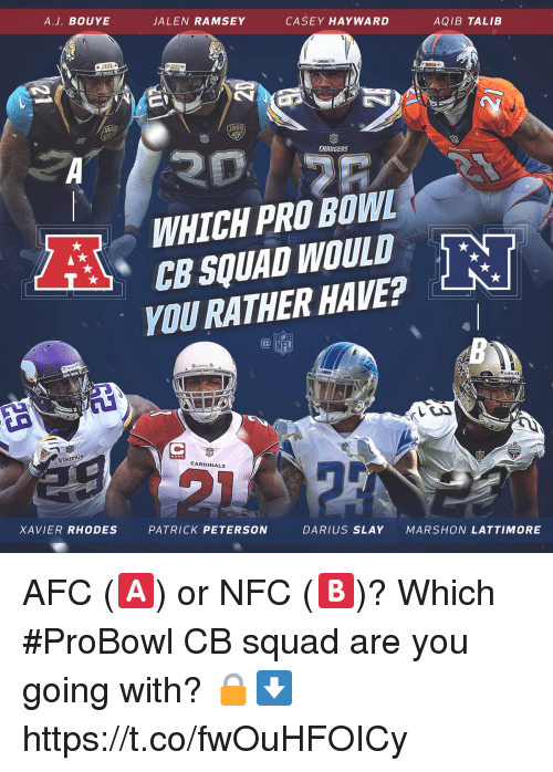 Aqib Talib: A.J. BOUYE  JALEN RAMSEY  CASEY HAYWARD  AQIB TALIB  JAGS  CHARGERS  . WHICH PRO BOWL  SQUAD WOULD  YOU RATHER HAVE?  @叩  NFL  CARDINALS  XAVIER RHODES  PATRICK PETERSON  DARIUS SLAY  MARSHON LATTIMORE AFC (🅰️) or NFC (🅱️)?  Which #ProBowl CB squad are you going with? 🔒⬇️ https://t.co/fwOuHFOICy