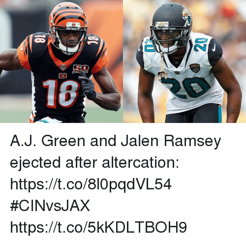 Memes, 🤖, and Green: A.J. Green and Jalen Ramsey ejected after altercation: https://t.co/8l0pqdVL54 #CINvsJAX https://t.co/5kKDLTBOH9