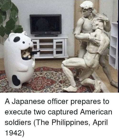 Philippines: A Japanese officer prepares to execute two captured American soldiers (The Philippines, April 1942)