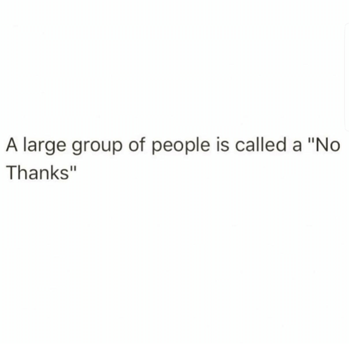 "Humans of Tumblr, Group, and People: A large group of people is called a ""No  Thanks"""