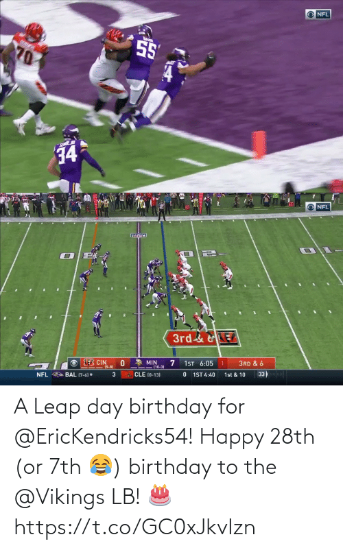 Vikings: A Leap day birthday for @EricKendricks54!  Happy 28th (or 7th 😂) birthday to the @Vikings LB! 🎂 https://t.co/GC0xJkvIzn