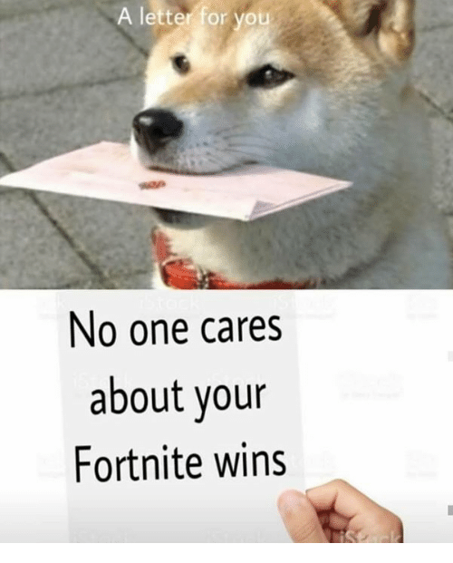 One, You, and For: A letter for you  No one cares  about your  Fortnite wins