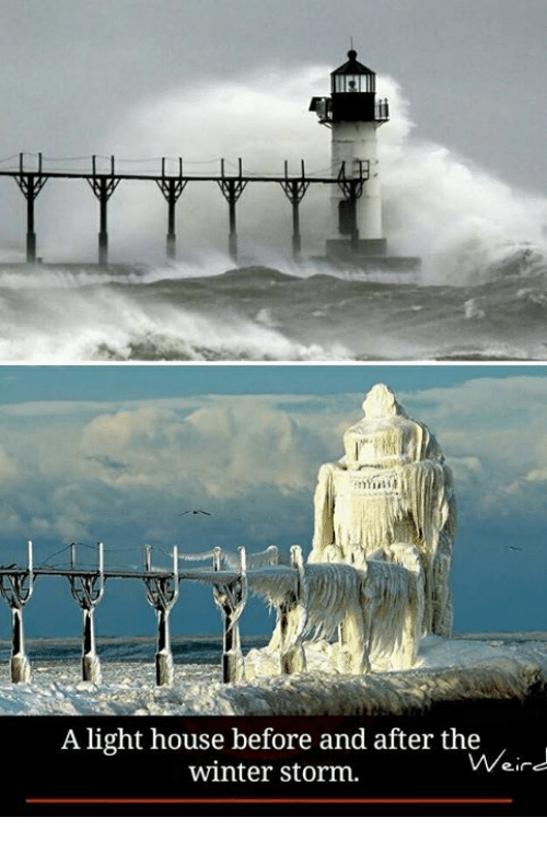 winter storm: A light house before and after the  Weird  winter storm.