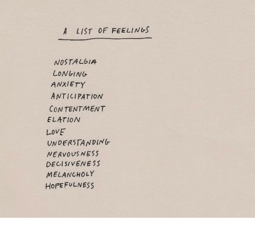 longing: A LIST OF FEELINGS  NOSTALbIA  LONGING  ANXIETY  ANTICIPATION  CONTENTMENT  ELATION  LOVE  UNDERSTANDING  NERVOUSNESS  DE11 SIVENESS  MELANCHOLY  HoPEFULNESS