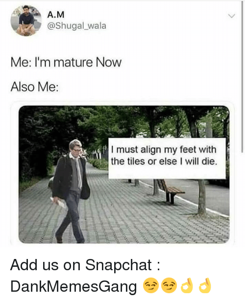 Wala: A.M  @Shugal wala  Me: I'm mature Now  Also Me:  I must align my feet with  the tiles or else I will die. Add us on Snapchat : DankMemesGang 😏😏👌👌