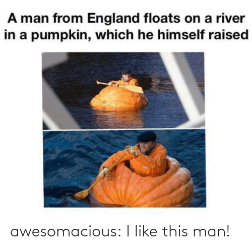 England: A man from England floats on a river  in a pumpkin, which he himself raised awesomacious:  I like this man!