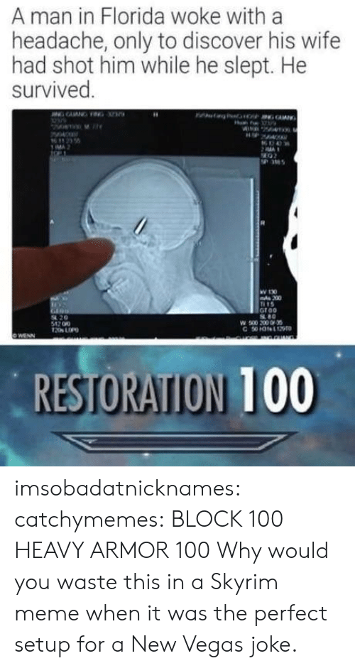 new vegas: A man in Florida woke with a  headache, only to discover his wife  had shot him while he slept. He  survived  MA  36  W 130  200  15  Groo  80  54 20  512 00  RESTORATION 100 imsobadatnicknames: catchymemes:    BLOCK 100  HEAVY ARMOR 100     Why would you waste this in a Skyrim meme when it was the perfect setup for a New Vegas joke.