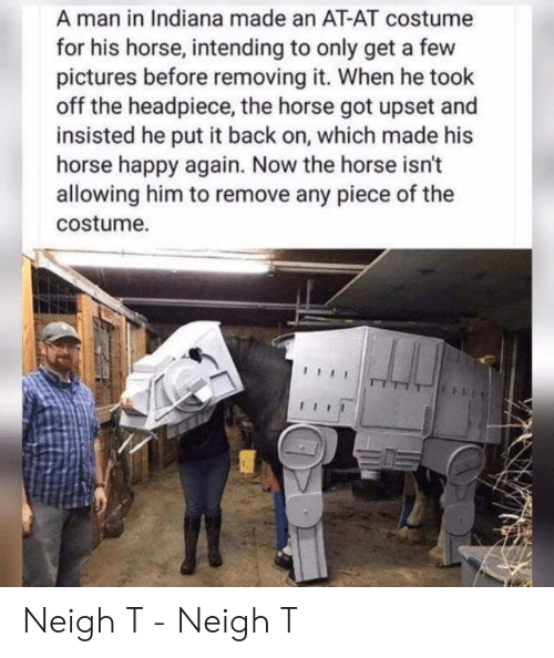 AT-AT: A man in Indiana made an AT-AT costume  for his horse, intending to only get a few  pictures before removing it. When he took  off the headpiece, the horse got upset and  insisted he put it back on, which made his  horse happy again. Now the horse isn't  allowing him to remove any piece of the  costume. Neigh T - Neigh T
