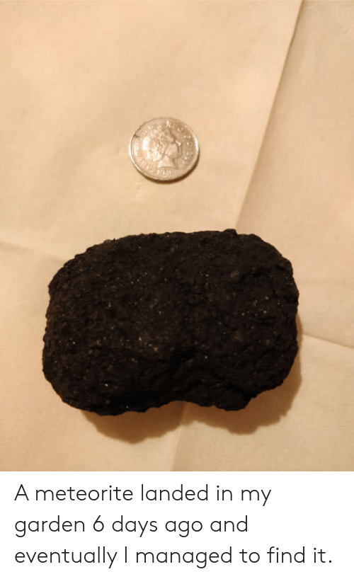 meteorite: A meteorite landed in my garden 6 days ago and eventually I managed to find it.