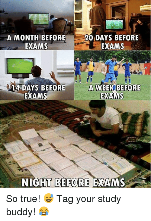 Soccer, Sports, and True: A MONTH BEFORE  EXAMS  20 DAYS BEFORE  EXAMS  A WEEK BEFORE  14 DAYS BEFORE  EXAMS  EXAMS  NIGHT BEFORE EXAMS So true! 😅 Tag your study buddy! 😂