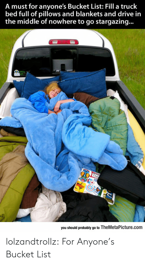 Bucket list: A must for anyone's Bucket List: Fill a truck  bed full of pillows and blankets and drive in  the middle of nowhere to go stargazing...  you should probably go to TheMetaPicture.com lolzandtrollz:  For Anyone's Bucket List