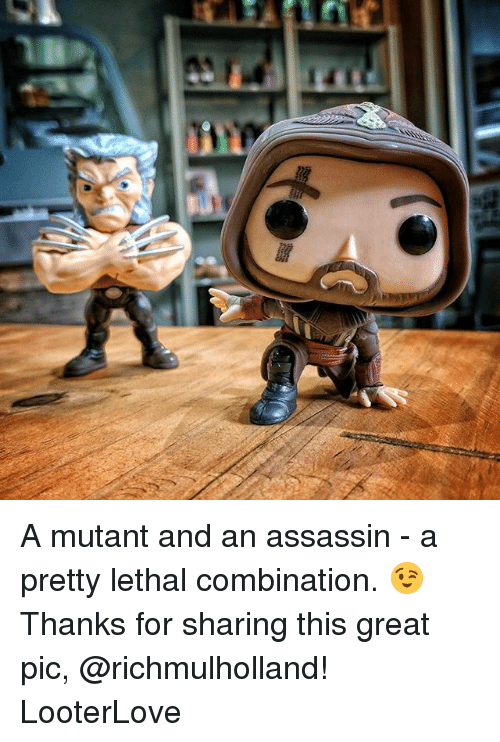 Memes, 🤖, and Assassin: A mutant and an assassin - a pretty lethal combination. 😉 Thanks for sharing this great pic, @richmulholland! LooterLove