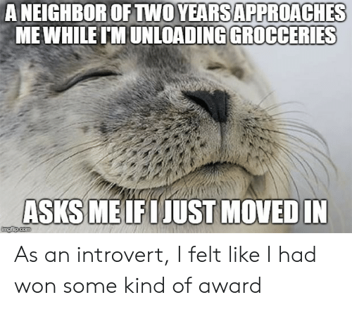 an introvert: A NEIGHBOR OFTWO YEARSAPPROACHES  MEWHILE IMUNLOA  ADING GROCCERIES  ASKS ME IFIJUST MOVED  IN As an introvert, I felt like I had won some kind of award
