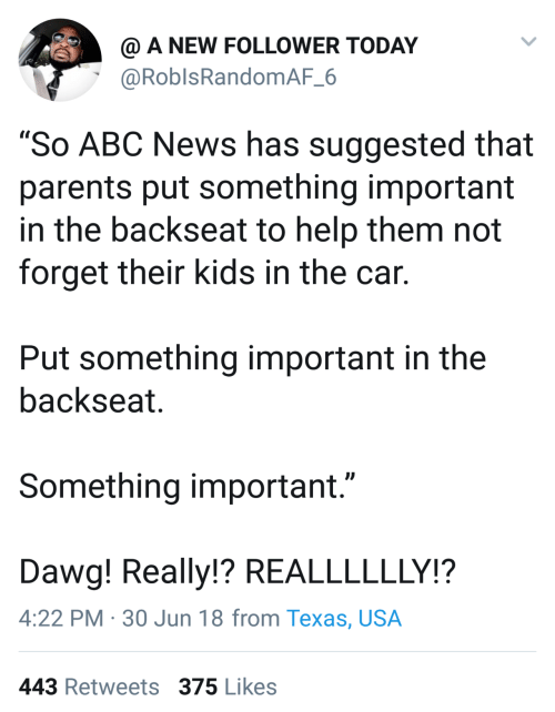 """dawg: @ A NEW FOLLOWER TODAY  @RoblsRandomAF_6  """"So ABC News has suggested that  parents put something important  in the backseat to help them not  forget their kids in the car.  Put something important in the  backseat.  Something important.""""  Dawg! Really!? REALLLLLLY!?  4:22 PM · 30 Jun 18 from Texas, USA  443 Retweets 375 Likes"""