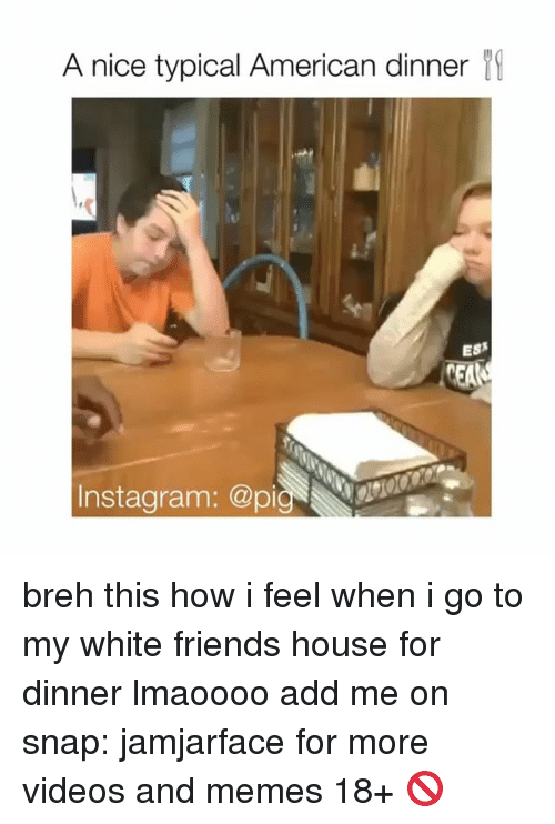 Memes, 🤖, and Snap: A nice typical American dinner  CEALA breh this how i feel when i go to my white friends house for dinner lmaoooo add me on snap: jamjarface for more videos and memes 18+ 🚫