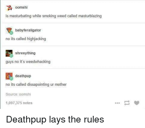 Lay's, Smoking, and Weed: A oomshi  is masturbating while smoking weed called masturblazing  babyferaligator  no its called highjacking  shrexy thing  guys no it's weedwhacking  deathpup  no its called dissapointing ur mother  Source: oomshi  1,097,375 notes Deathpup lays the rules