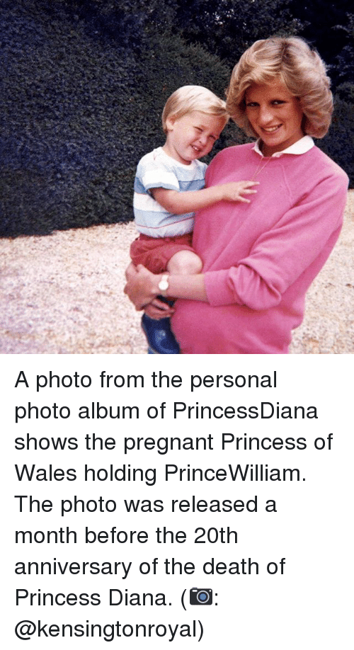 Memes, Pregnant, and Death: A photo from the personal photo album of PrincessDiana shows the pregnant Princess of Wales holding PrinceWilliam. The photo was released a month before the 20th anniversary of the death of Princess Diana. (📷: @kensingtonroyal)