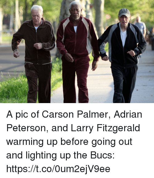 bucs: A pic of Carson Palmer, Adrian Peterson, and Larry Fitzgerald warming up before going out and lighting up the Bucs: https://t.co/0um2ejV9ee