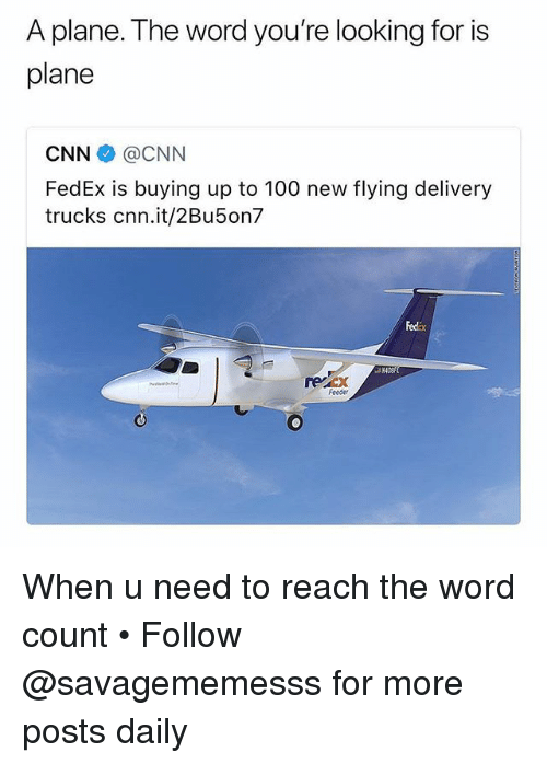 Anaconda, cnn.com, and Memes: A plane. The word you're looking for is  plane  CNN@CNN  FedEx is buying up to 100 new flying delivery  trucks cnn.it/2Bu5on7  Fedix  recx  Foeder When u need to reach the word count • Follow @savagememesss for more posts daily