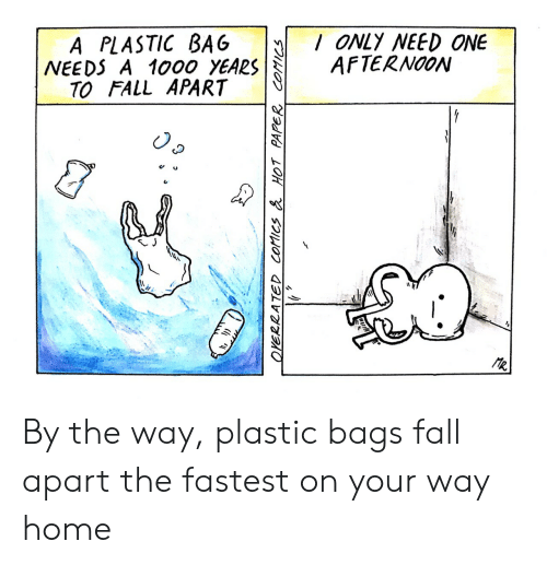 plastic bag: A PLASTIC BAG ONLY NEED ONE  NEEDS A 1000 YEARSAFTERNO0N  TO FALL APART  C u By the way, plastic bags fall apart the fastest on your way home