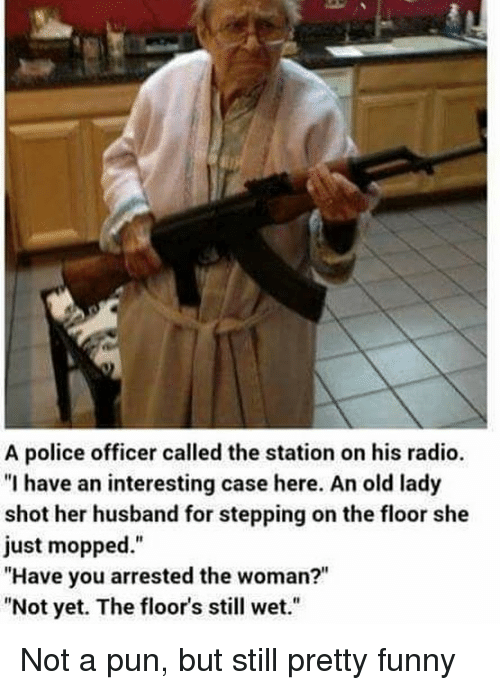 "Funny, Memes, and Police: A police officer called the station on his radio.  ""I have an interesting case here. An old lady  shot her husband for stepping on the floor she  just mopped.""  ""Have you arrested the woman?""  ""Not yet. The floor's still wet."" Not a pun, but still pretty funny"