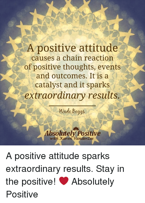 Memes, 🤖, and Sparks: A positive attitude  causes a chain reaction  of positive thoughts, events  and outcomes. It is a  catalyst and it sparks  extraordinary results.  Wade Boggs  bsolutely Positive  with Karen A positive attitude sparks extraordinary results. Stay in the positive!  ❤️ Absolutely Positive