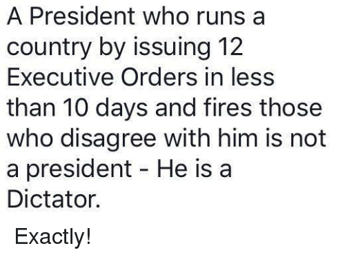 Dictater: A President who runs a  country by issuing 12  Executive Orders in less  than 10 days and fires those  who disagree with him is not  a president He is a  Dictator. Exactly!