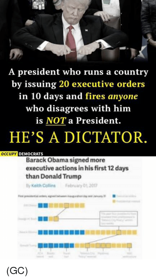 Dictater: A president who runs a country  by issuing 20 executive orders  in 10 days and fires anyone  who disagrees with him  is NOT a President.  HE'S A DICTATOR  OCCUPY  DEMOCRATS  Barack Obama signed more  executive actions inhisfirst 12 days  than Donald Trump  Keith Collins February 01 2017 (GC)