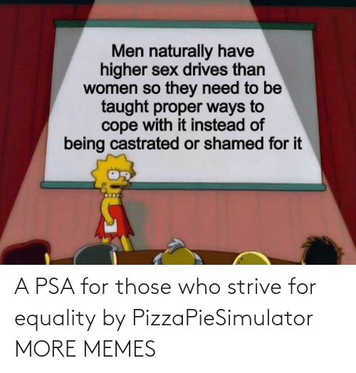 equality: A PSA for those who strive for equality by PizzaPieSimulator MORE MEMES