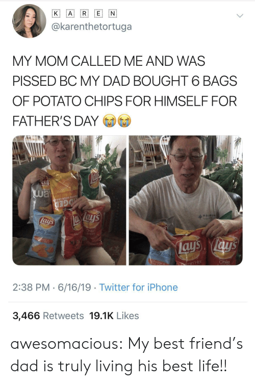 Best Life: A R E N  K  @karenthetortuga  MY MOM CALLED ME AND WAS  PISSED BC MY DAD BOUGHT 6 BAGS  OF POTATO CHIPS FOR HIMSELF FOR  FATHER'S DAY  way  Su  OTATO CHIP  AR & SOUR CREA N  GED  lays  Fl hile  mon  ightly Salted  ays ays  ighty Salted  Chile  CA  ar  min'Hot  2:38 PM 6/16/19 Twitter for iPhone  3,466 Retweets 19.1K Likes awesomacious:  My best friend's dad is truly living his best life!!